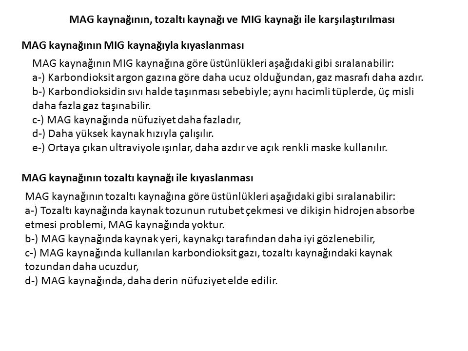 MAG kaynağının, tozaltı kaynağı ve MIG kaynağı ile karşılaştırılması