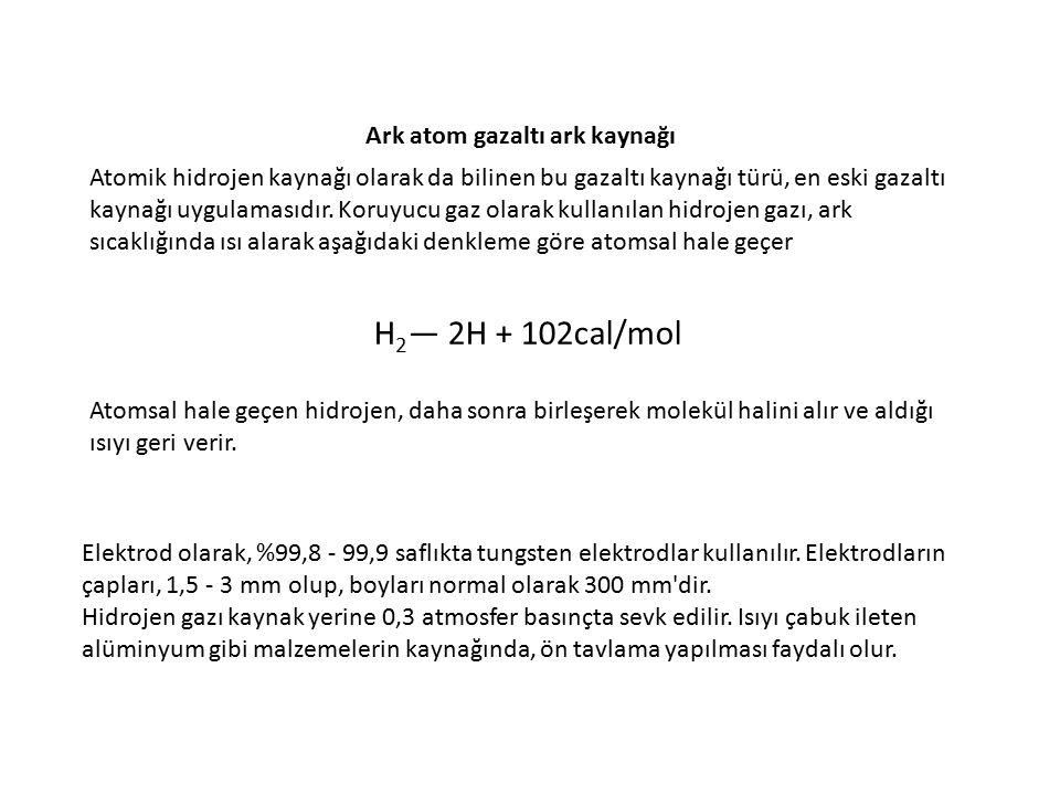 H2— 2H + 102cal/mol Ark atom gazaltı ark kaynağı