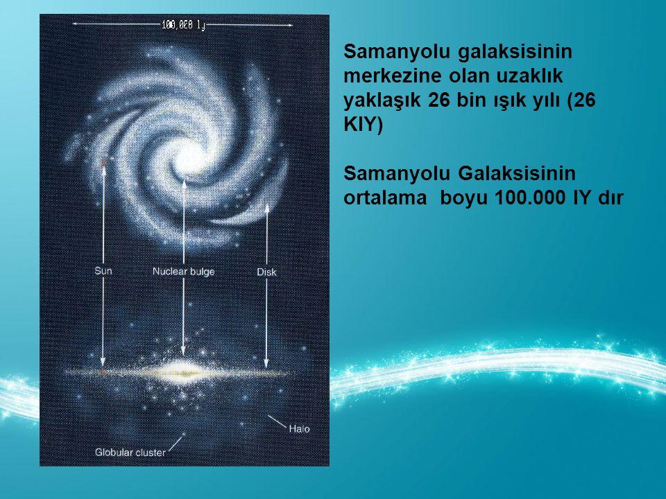 Samanyolu galaksisinin merkezine olan uzaklık yaklaşık 26 bin ışık yılı (26 KIY)