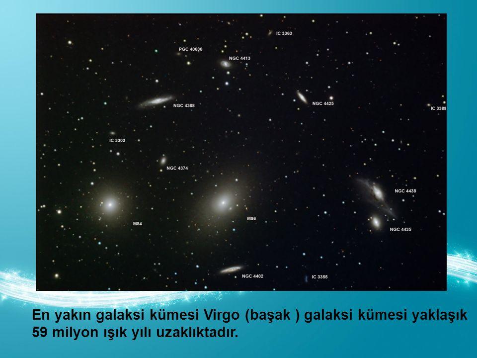 En yakın galaksi kümesi Virgo (başak ) galaksi kümesi yaklaşık 59 milyon ışık yılı uzaklıktadır.