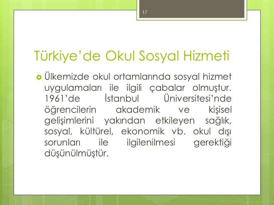 Türkiye'de Okul Sosyal Hizmeti