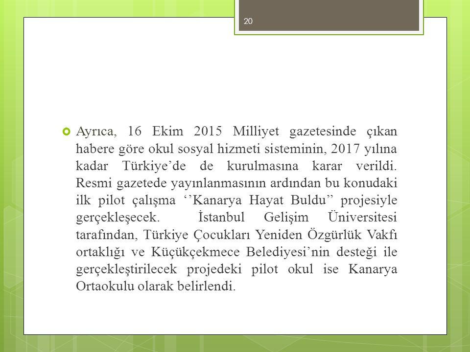 Ayrıca, 16 Ekim 2015 Milliyet gazetesinde çıkan habere göre okul sosyal hizmeti sisteminin, 2017 yılına kadar Türkiye'de de kurulmasına karar verildi.