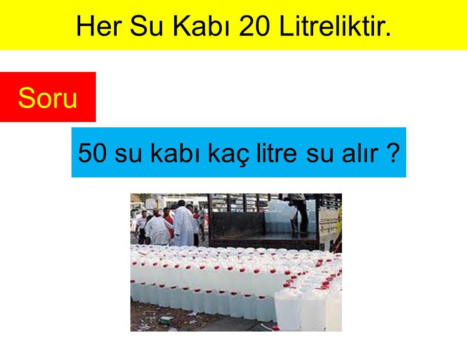 Her Su Kabı 20 Litreliktir.