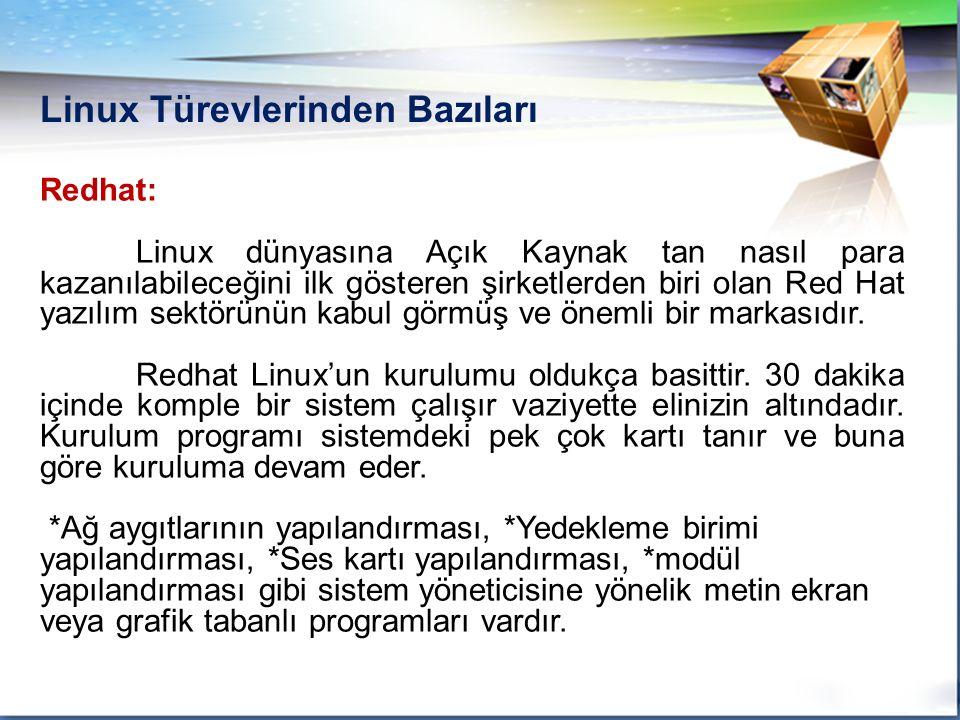 Linux Türevlerinden Bazıları