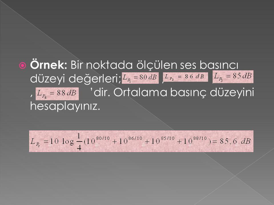 Örnek: Bir noktada ölçülen ses basıncı düzeyi değerleri; , , , 'dir
