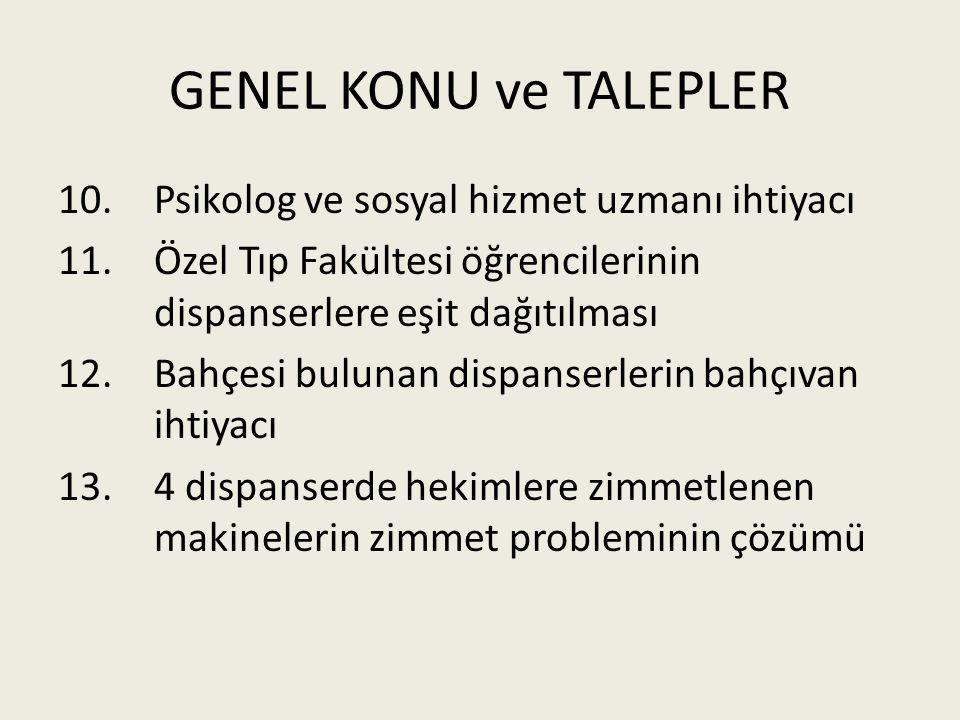 GENEL KONU ve TALEPLER