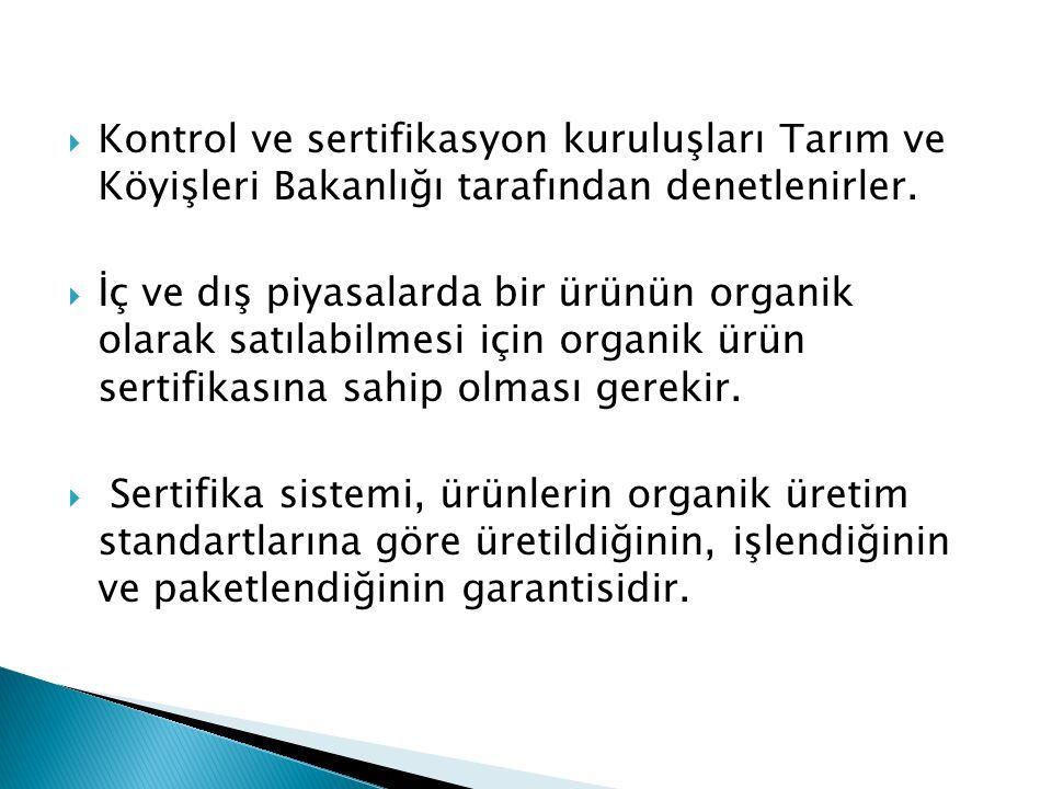 Kontrol ve sertifikasyon kuruluşları Tarım ve Köyişleri Bakanlığı tarafından denetlenirler.