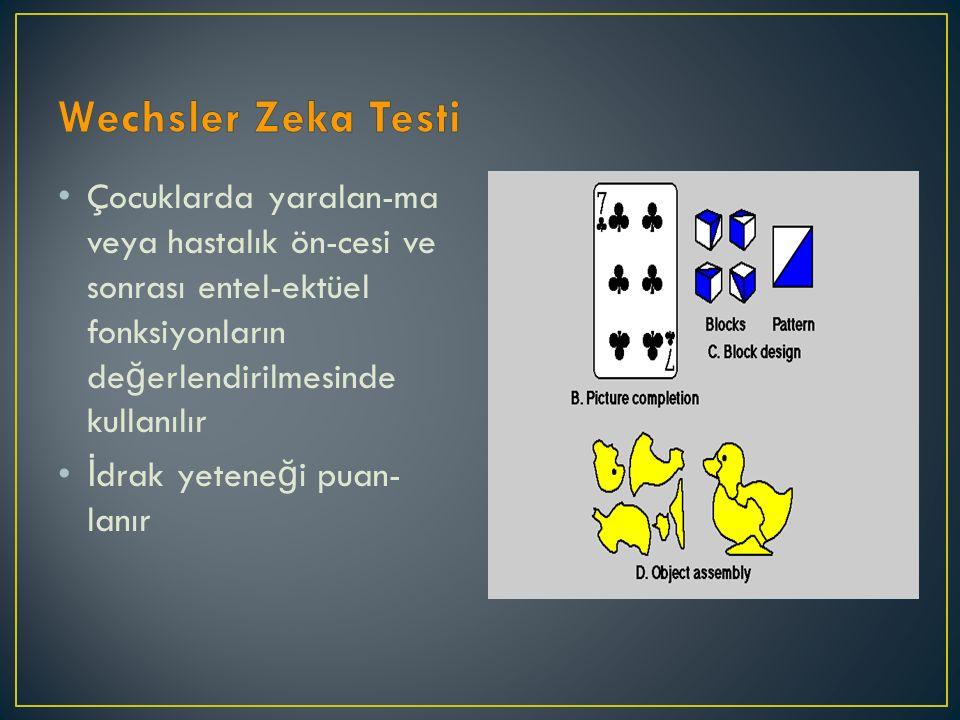 Wechsler Zeka Testi Çocuklarda yaralan-ma veya hastalık ön-cesi ve sonrası entel-ektüel fonksiyonların değerlendirilmesinde kullanılır.