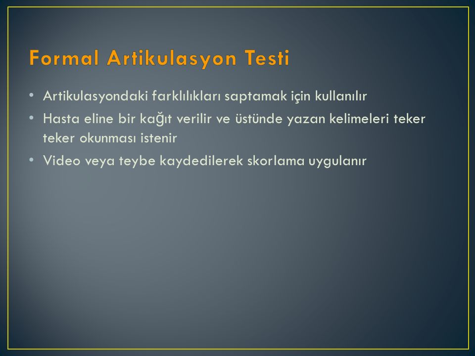 Formal Artikulasyon Testi