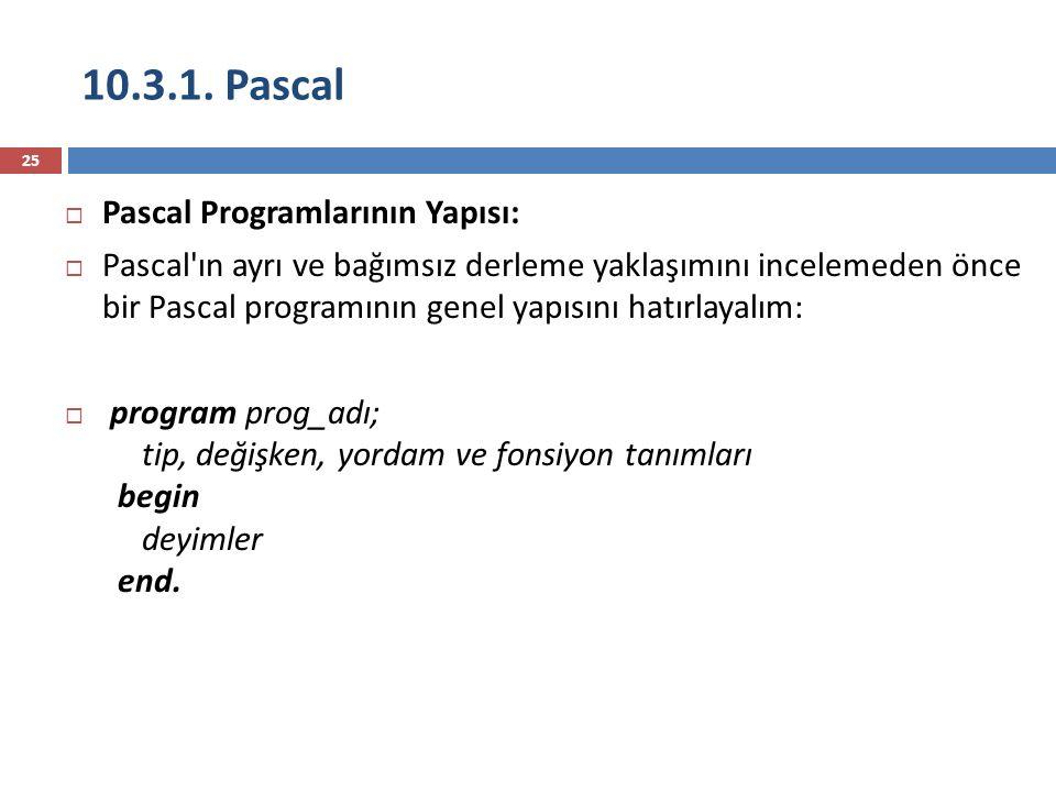 10.3.1. Pascal Pascal Programlarının Yapısı: