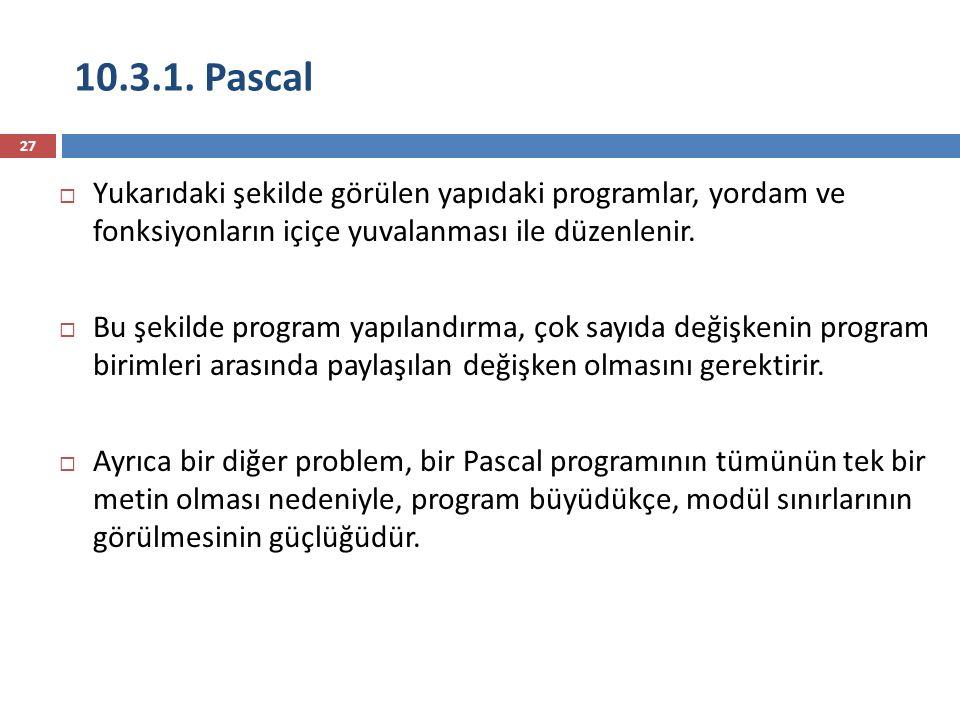 10.3.1. Pascal Yukarıdaki şekilde görülen yapıdaki programlar, yordam ve fonksiyonların içiçe yuvalanması ile düzenlenir.