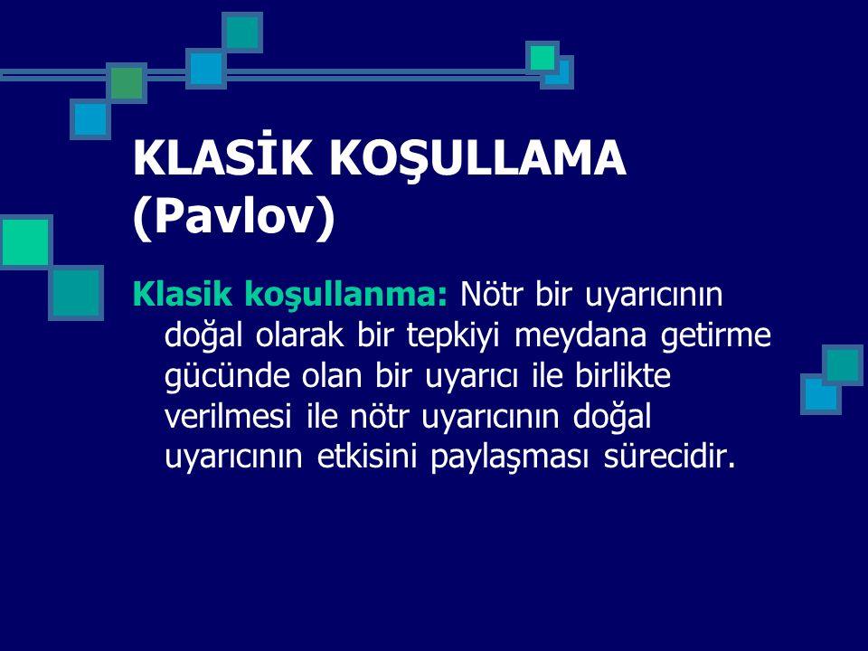 KLASİK KOŞULLAMA (Pavlov)