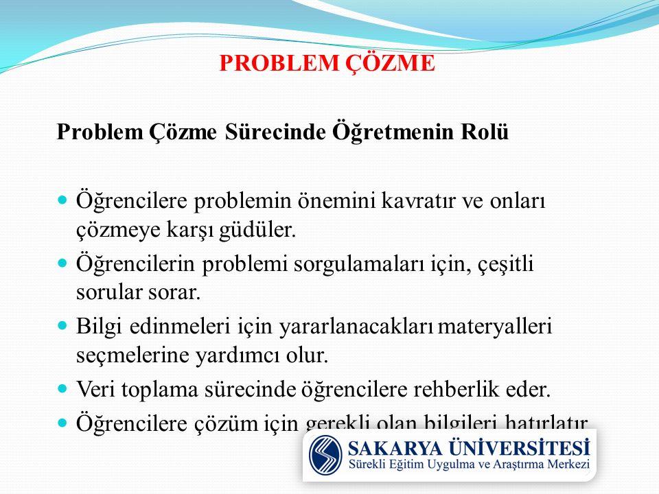 PROBLEM ÇÖZME Problem Çözme Sürecinde Öğretmenin Rolü. Öğrencilere problemin önemini kavratır ve onları çözmeye karşı güdüler.