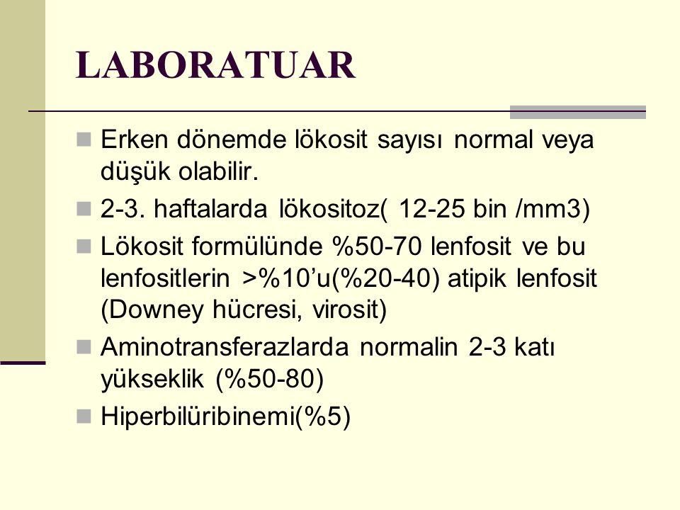 LABORATUAR Erken dönemde lökosit sayısı normal veya düşük olabilir.