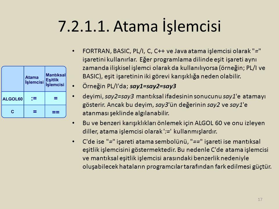 7.2.1.1. Atama İşlemcisi