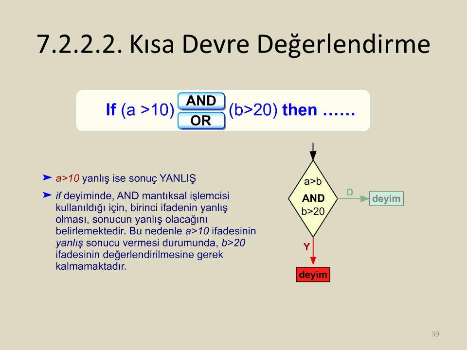 7.2.2.2. Kısa Devre Değerlendirme