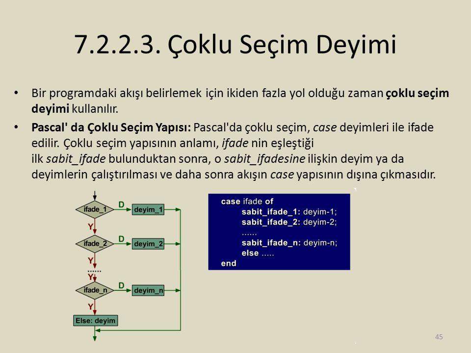 7.2.2.3. Çoklu Seçim Deyimi Bir programdaki akışı belirlemek için ikiden fazla yol olduğu zaman çoklu seçim deyimi kullanılır.