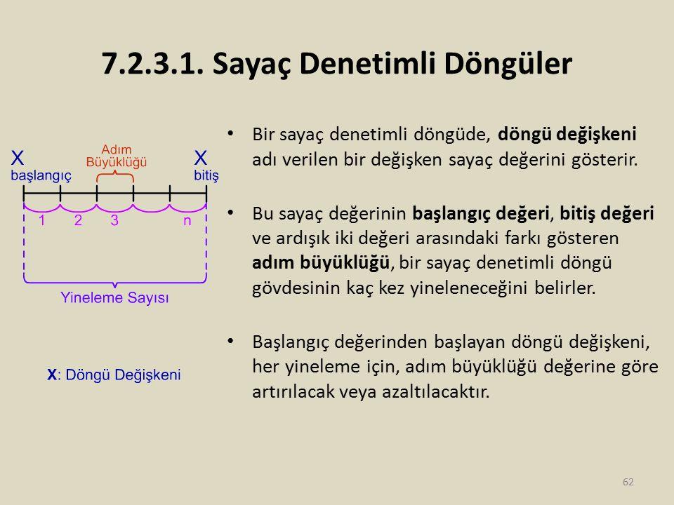 7.2.3.1. Sayaç Denetimli Döngüler