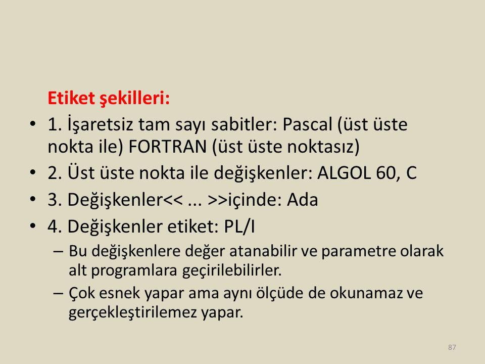 2. Üst üste nokta ile değişkenler: ALGOL 60, C