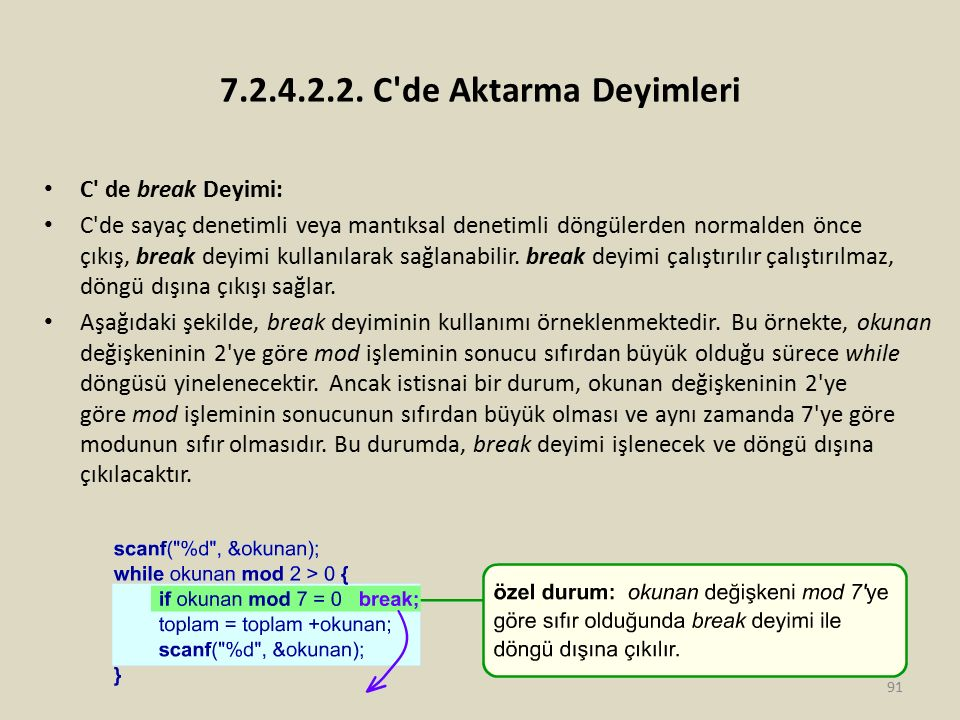 7.2.4.2.2. C de Aktarma Deyimleri C de break Deyimi: