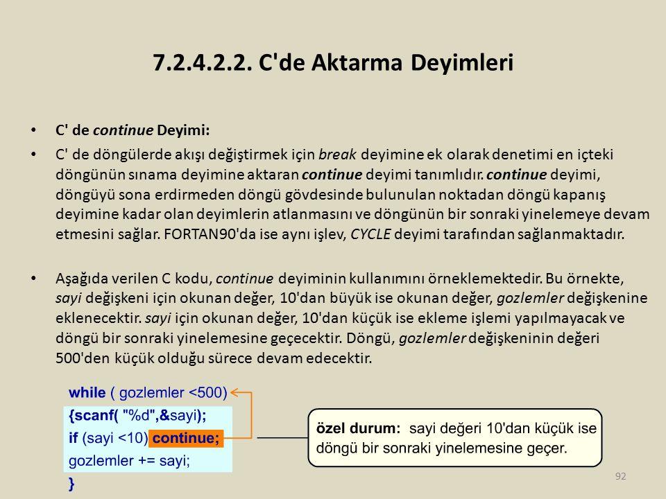 7.2.4.2.2. C de Aktarma Deyimleri C de continue Deyimi: