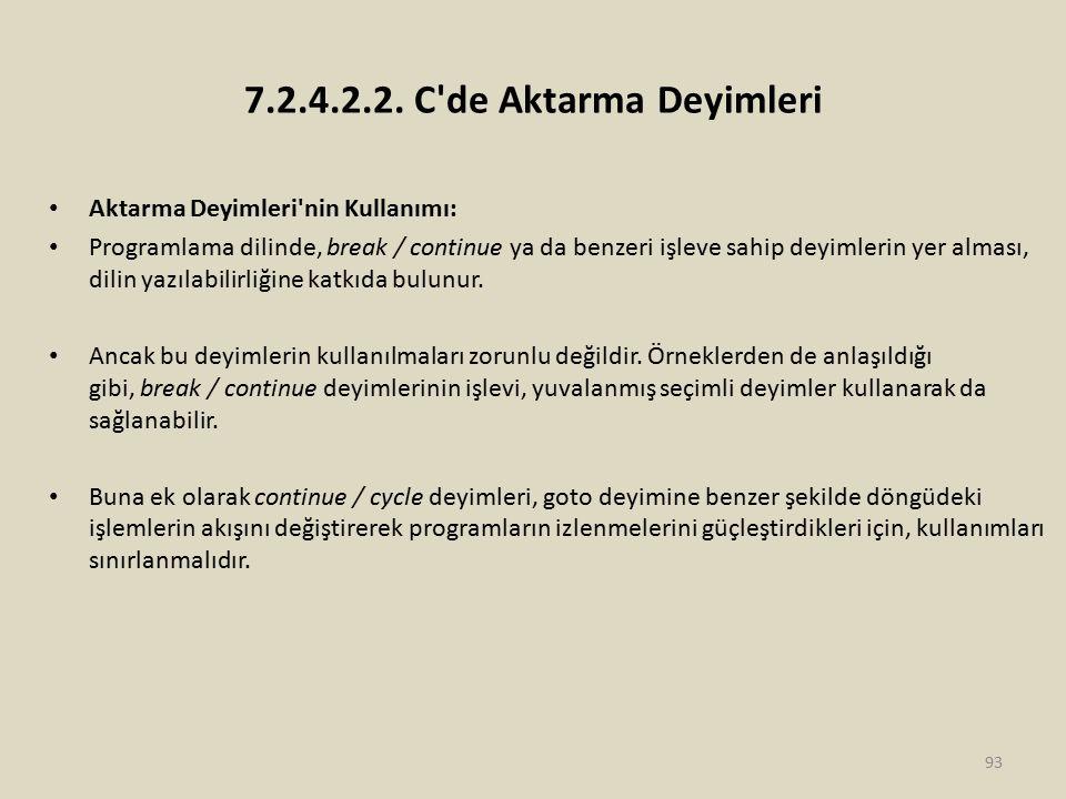 7.2.4.2.2. C de Aktarma Deyimleri Aktarma Deyimleri nin Kullanımı: