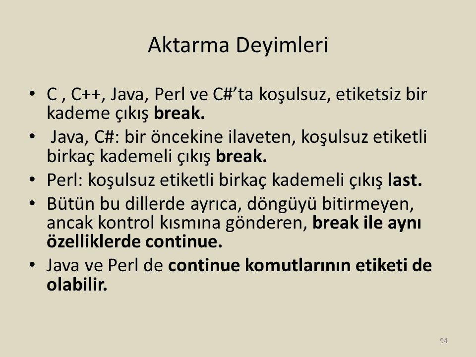 Aktarma Deyimleri C , C++, Java, Perl ve C#'ta koşulsuz, etiketsiz bir kademe çıkış break.