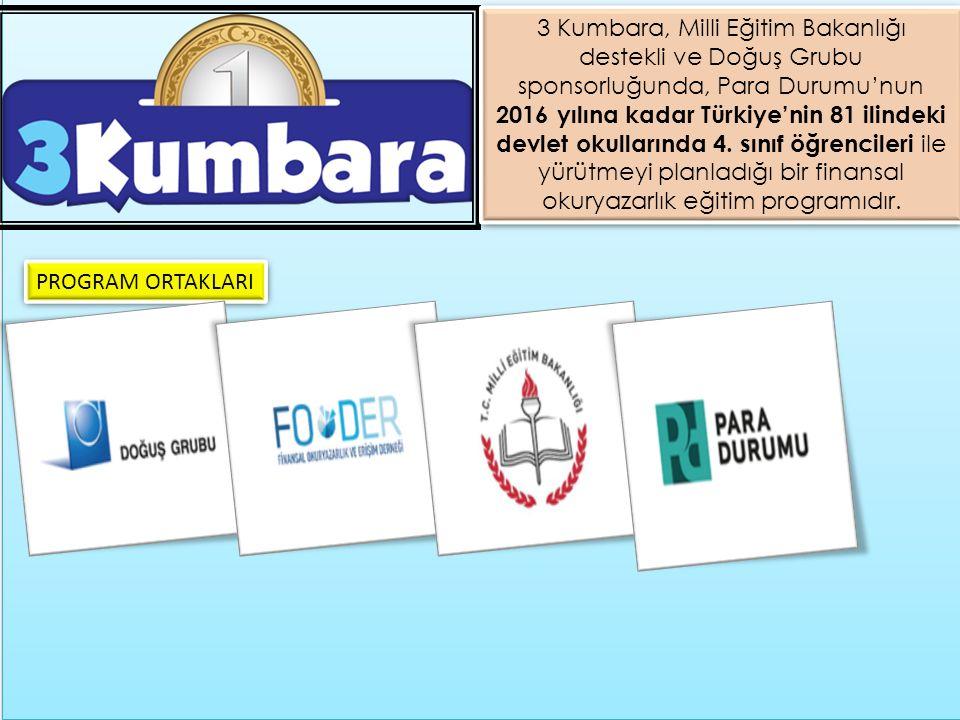 3 Kumbara, Milli Eğitim Bakanlığı destekli ve Doğuş Grubu sponsorluğunda, Para Durumu'nun 2016 yılına kadar Türkiye'nin 81 ilindeki devlet okullarında 4. sınıf öğrencileri ile yürütmeyi planladığı bir finansal okuryazarlık eğitim programıdır.