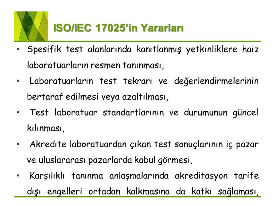 ISO/IEC 17025'in Yararları Spesifik test alanlarında kanıtlanmış yetkinliklere haiz laboratuarların resmen tanınması,