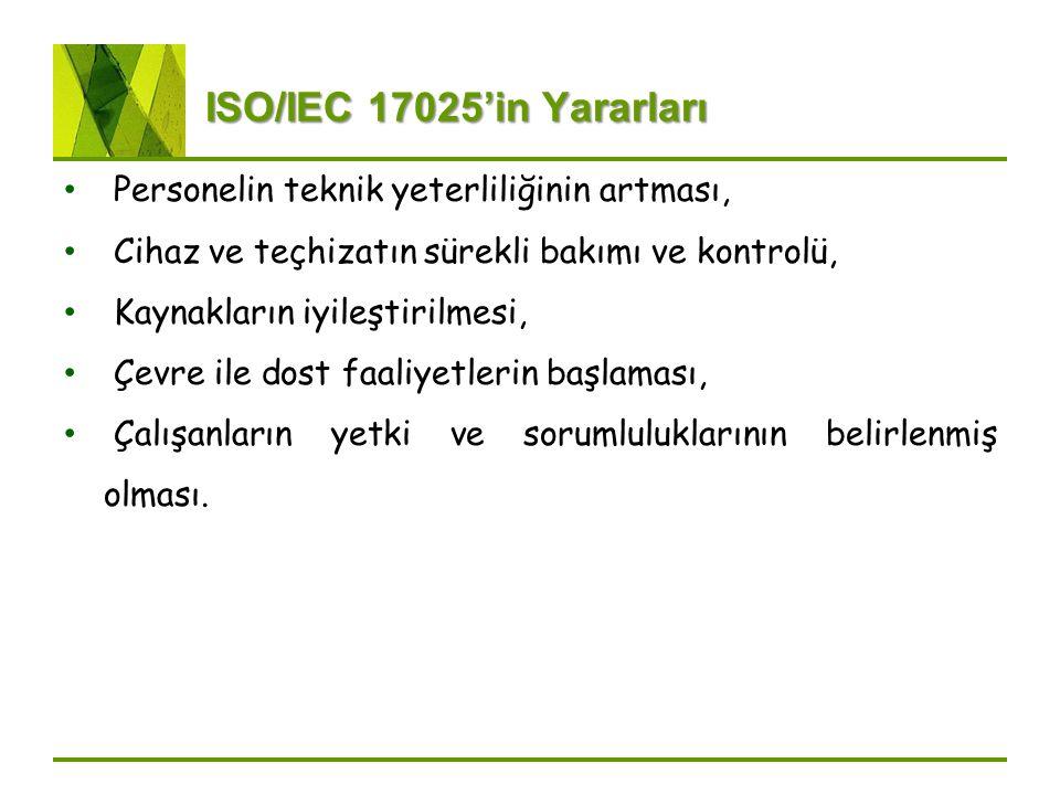ISO/IEC 17025'in Yararları Personelin teknik yeterliliğinin artması,
