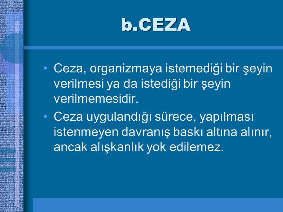 b.CEZA Ceza, organizmaya istemediği bir şeyin verilmesi ya da istediği bir şeyin verilmemesidir.