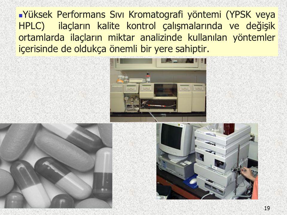 Yüksek Performans Sıvı Kromatografi yöntemi (YPSK veya HPLC) ilaçların kalite kontrol çalışmalarında ve değişik ortamlarda ilaçların miktar analizinde kullanılan yöntemler içerisinde de oldukça önemli bir yere sahiptir.