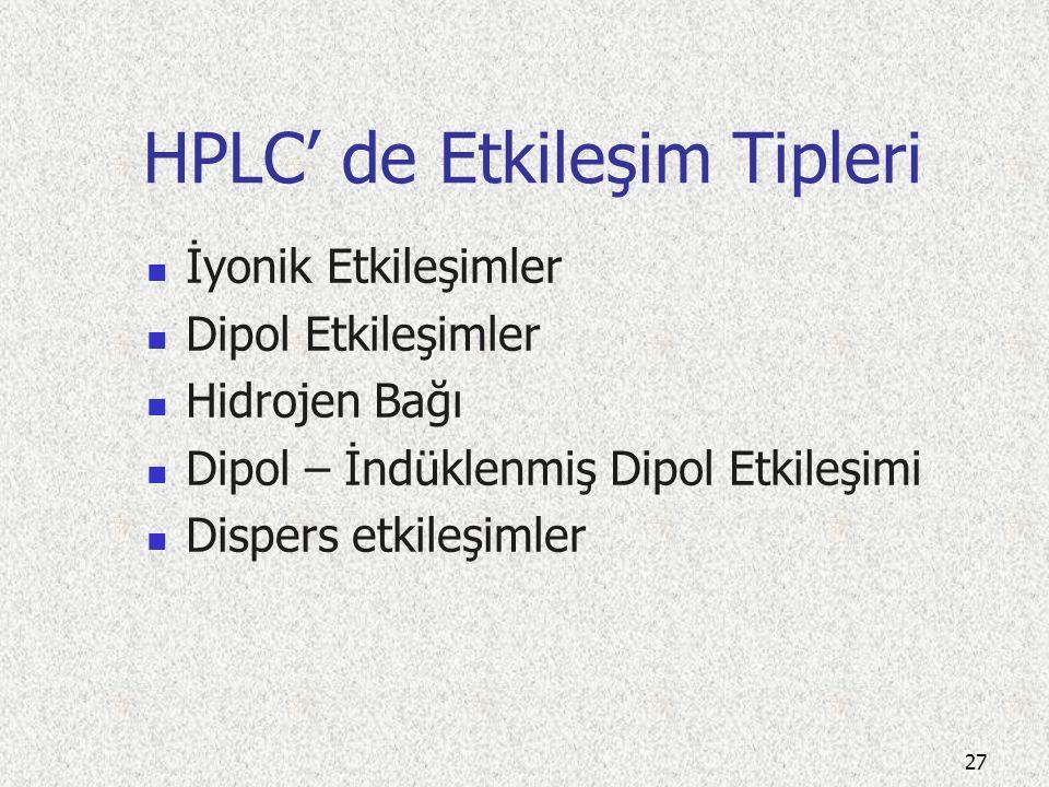 HPLC' de Etkileşim Tipleri