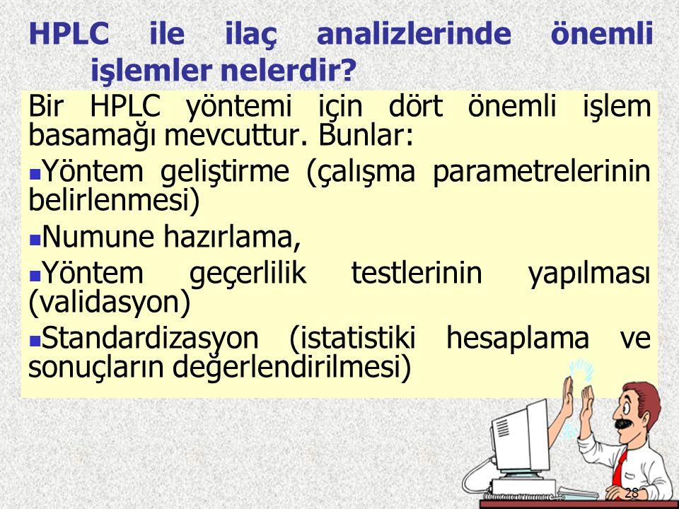 HPLC ile ilaç analizlerinde önemli işlemler nelerdir