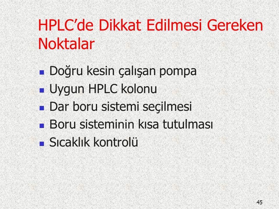 HPLC'de Dikkat Edilmesi Gereken Noktalar