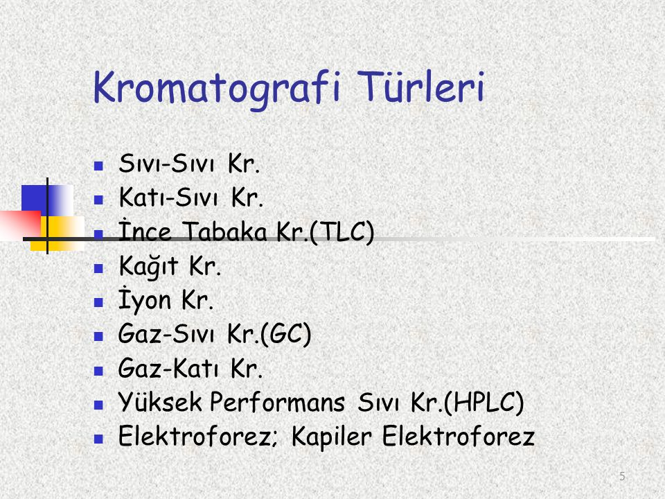 Kromatografi Türleri Sıvı-Sıvı Kr. Katı-Sıvı Kr. İnce Tabaka Kr.(TLC)