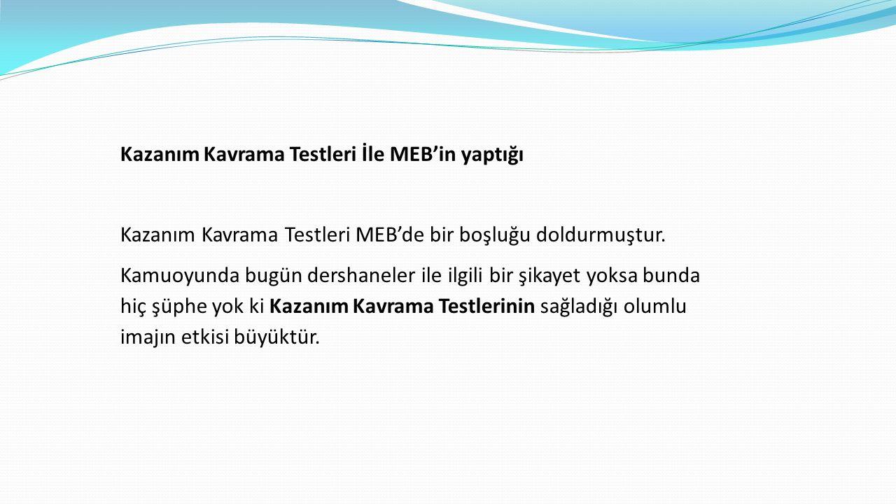 Kazanım Kavrama Testleri İle MEB'in yaptığı