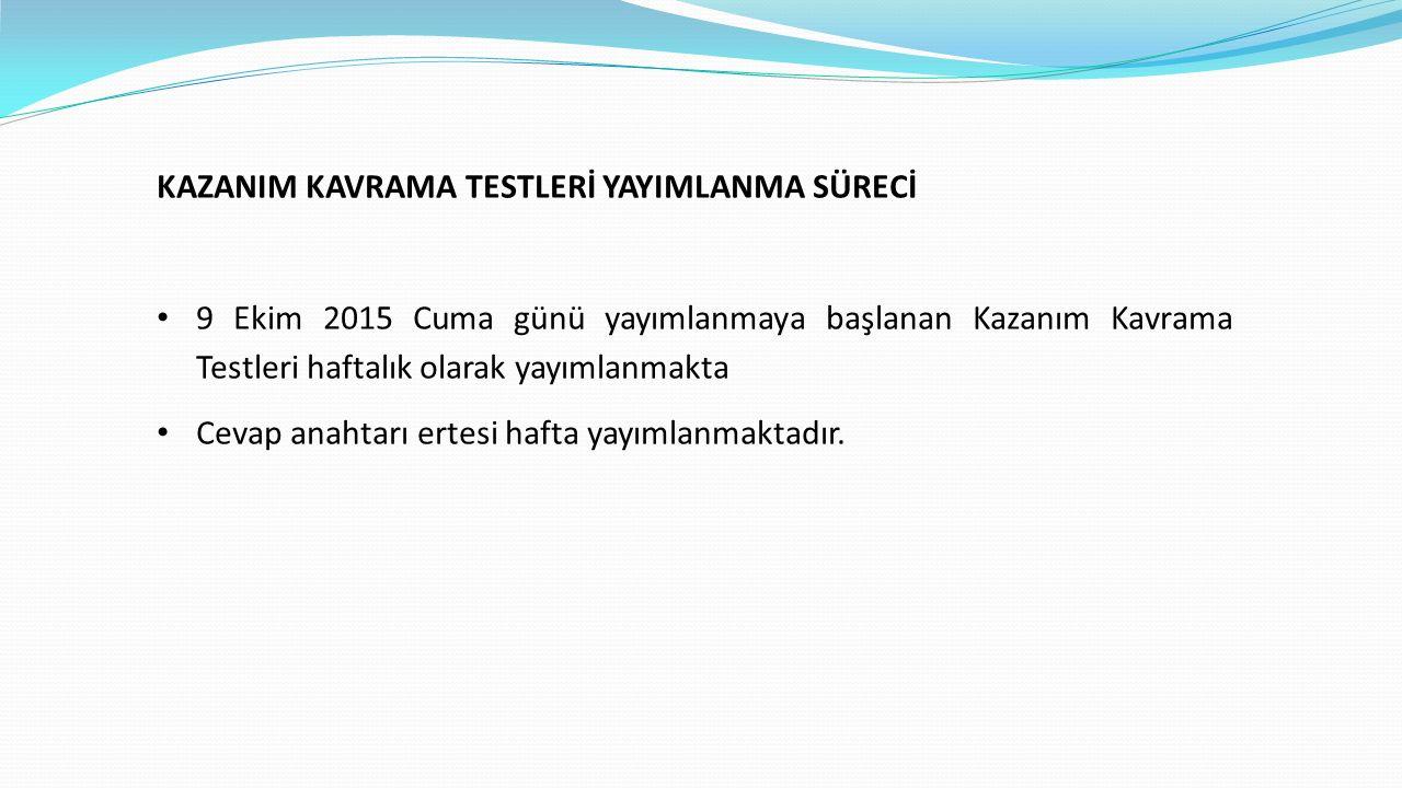 KAZANIM KAVRAMA TESTLERİ YAYIMLANMA SÜRECİ