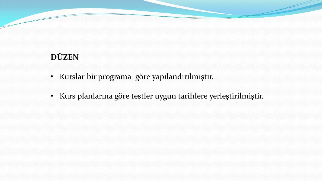 DÜZEN Kurslar bir programa göre yapılandırılmıştır.