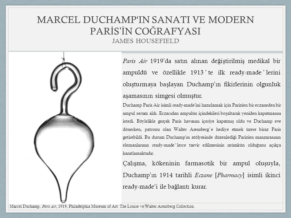 MARCEL DUCHAMP IN SANATI VE MODERN PARİS'İN COĞRAFYASI JAMES HOUSEFIELD
