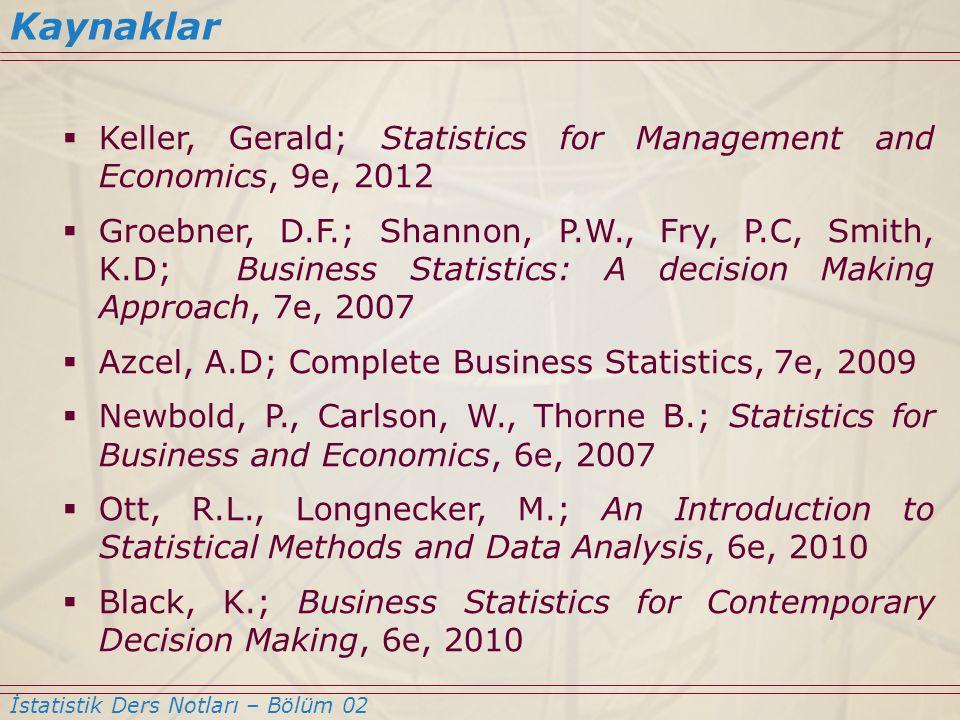 Kaynaklar Keller, Gerald; Statistics for Management and Economics, 9e, 2012.