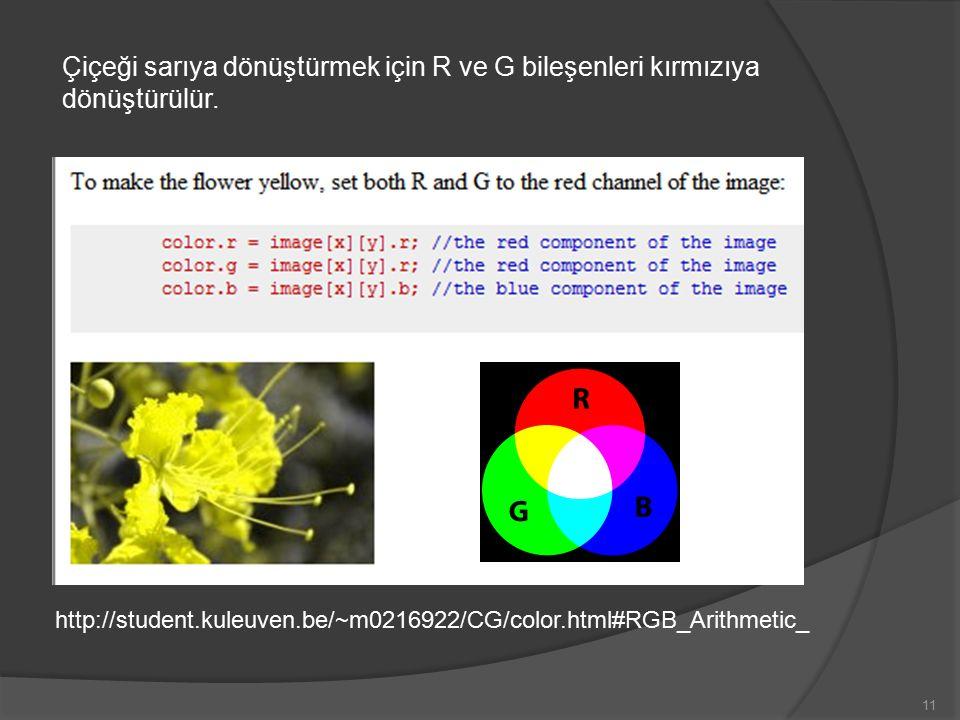 Çiçeği sarıya dönüştürmek için R ve G bileşenleri kırmızıya dönüştürülür.