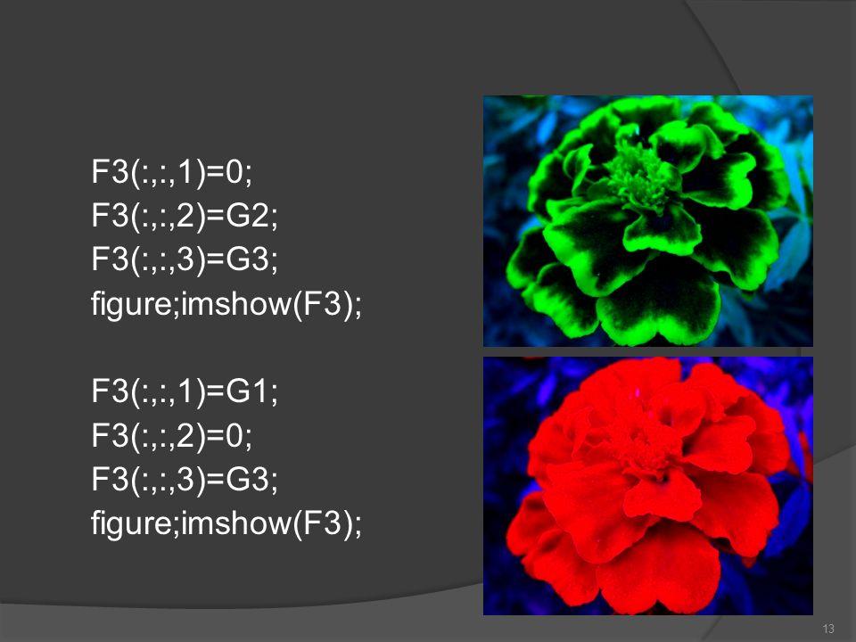 F3(:,:,1)=0; F3(:,:,2)=G2; F3(:,:,3)=G3; figure;imshow(F3); F3(:,:,1)=G1; F3(:,:,2)=0;