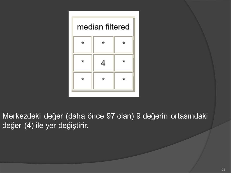 Merkezdeki değer (daha önce 97 olan) 9 değerin ortasındaki değer (4) ile yer değiştirir.