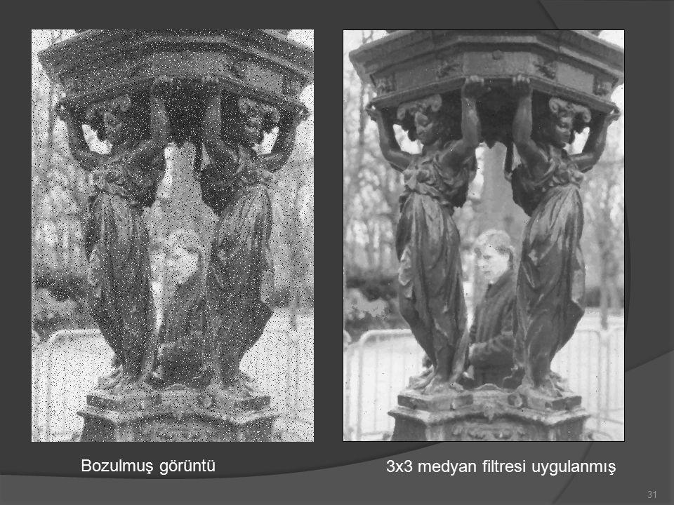 Bozulmuş görüntü 3x3 medyan filtresi uygulanmış