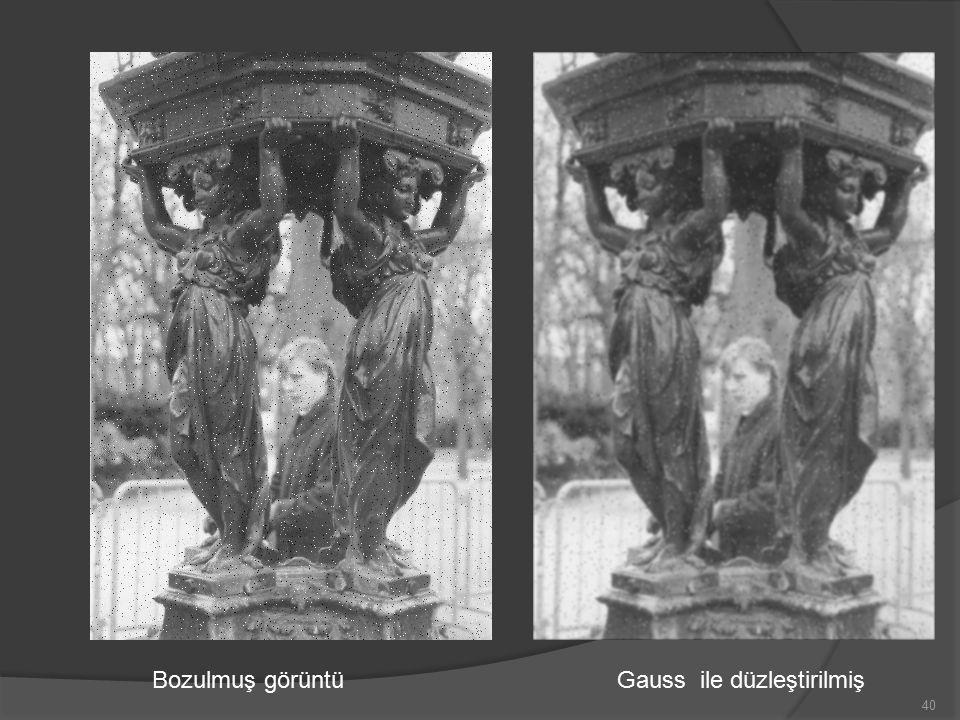 Bozulmuş görüntü Gauss ile düzleştirilmiş