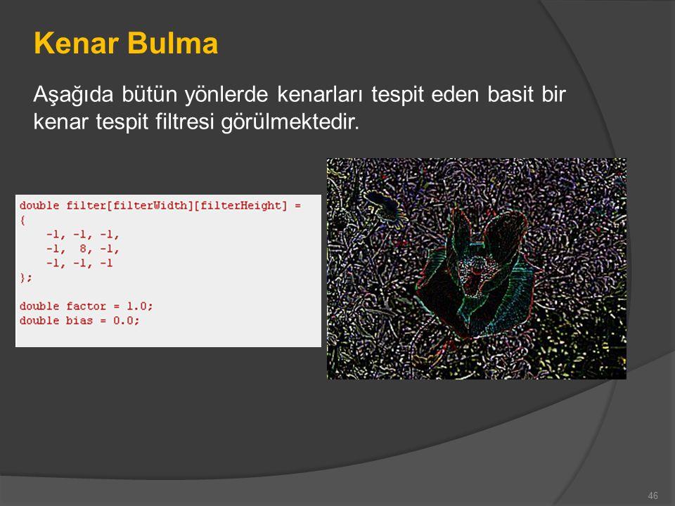 Kenar Bulma Aşağıda bütün yönlerde kenarları tespit eden basit bir kenar tespit filtresi görülmektedir.
