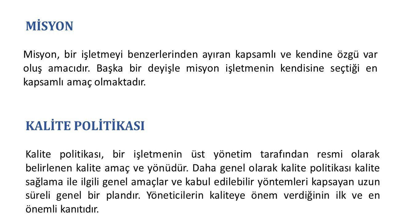 MİSYON KALİTE POLİTİKASI