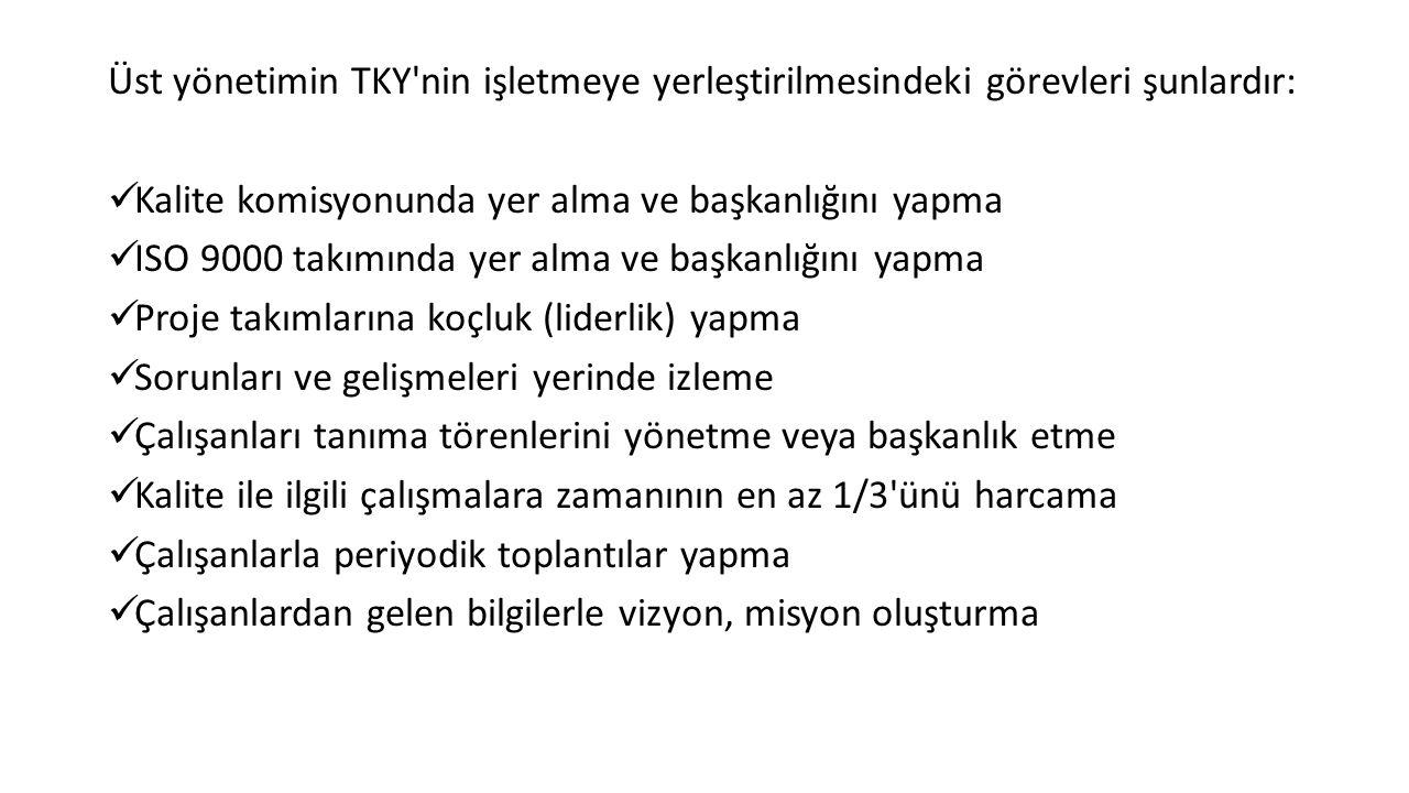 Üst yönetimin TKY nin işletmeye yerleştirilmesindeki görevleri şunlardır: