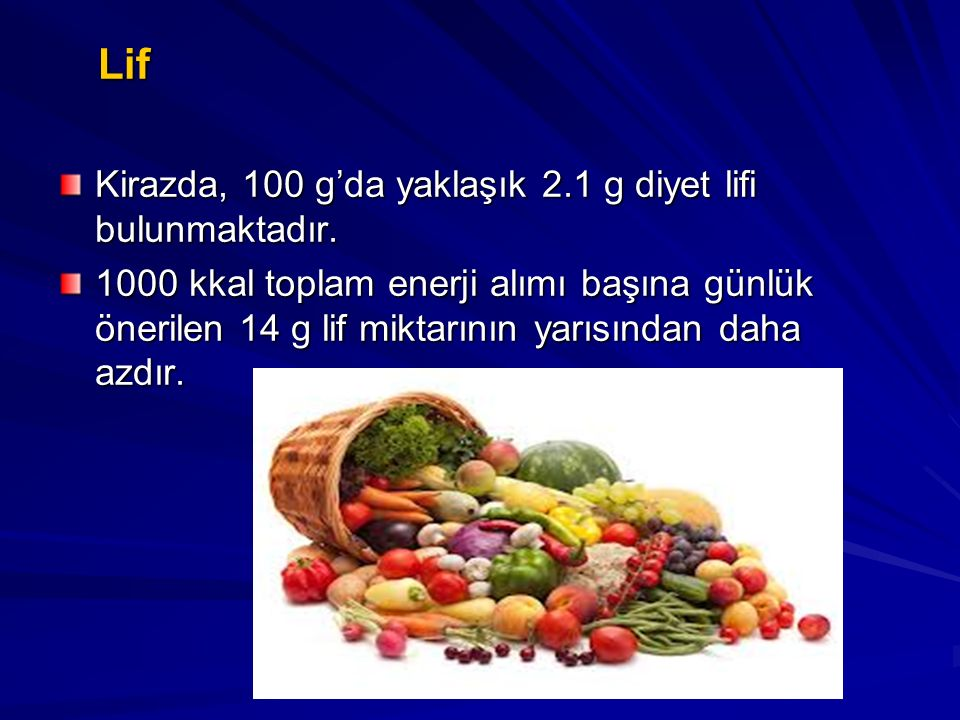 Lif Kirazda, 100 g'da yaklaşık 2.1 g diyet lifi bulunmaktadır.